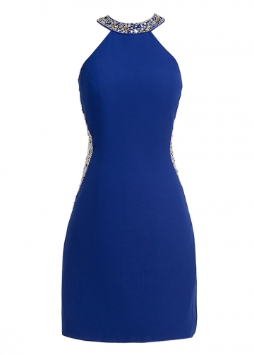 Fantastic Jewel Neckline Sheath/Column Cocktail Dress With Beadings