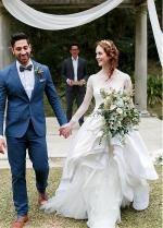 Romantic Tulle & Satin Bateau Neckline A-line Wedding Dresses With Lace Appliques