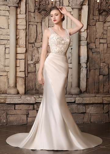 Chic Satin V-neck Neckline Mermaid Wedding Dresses