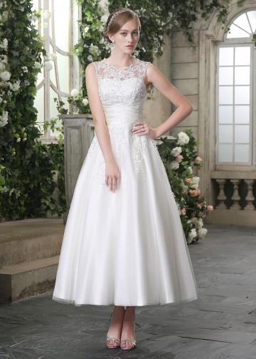 Elegant Tulle Bateau Neckline Ankle-length A-line Wedding Dresses