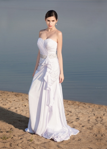 Elegant Satin Chiffon Sweetheart Neckline A-line Wedding Dresses
