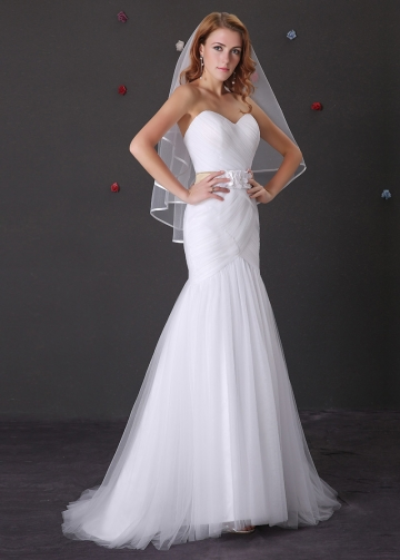Elegant Tulle Sweetheart Neckline Mermaid Wedding Dress