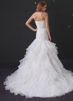 Glamorous Organza Satin Mermaid Wedding Dress With Beaded Lace Appliques