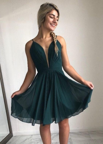 Dark Green Chiffon Party Gown with Plunging Neckline