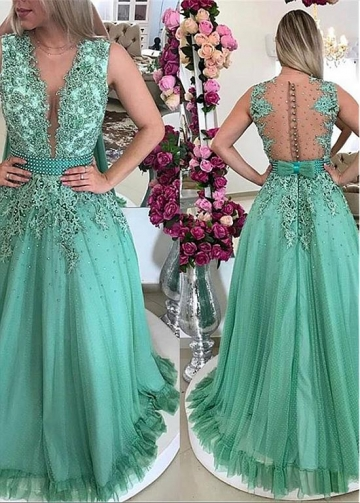 Graceful Tulle V-neck Neckline A-line Prom Dress With Beaded Lace Appliques & Bowknot