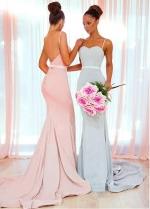 Delicate Four Way Spandex Spaghetti Straps Neckline Floor-length Mermaid Bridesmaid Dresses With Belt