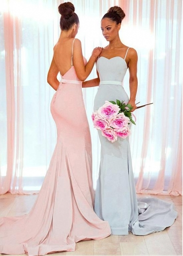 Delicate Four Way Spandex Spaghetti Straps Neckline Floor-length Mermaid Bridesmaid Dresses With Belt