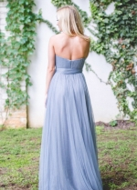 Dusty Blue Long Backless Bridesmaid Gown with Tulle Sash