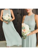 Dusty Green Wedding Guests Dresses Long Chiffon String Neckline