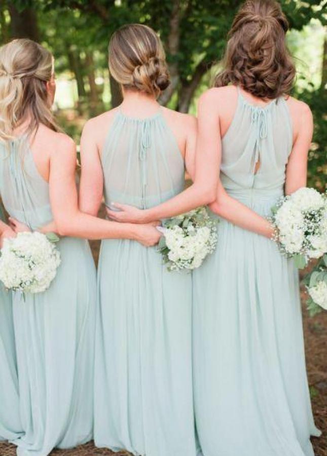 Dusty Green Wedding Guests Dresses Long Chiffon String Neckline