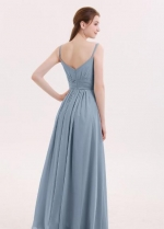 Dusty Blue Bridesmaid Dresses Long Chiffon Skirt Vestido de la dama de honor
