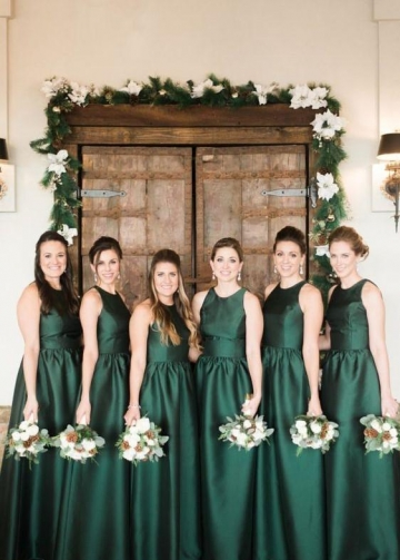 Dark Green Satin Bridesmaid Gowns Floor Length