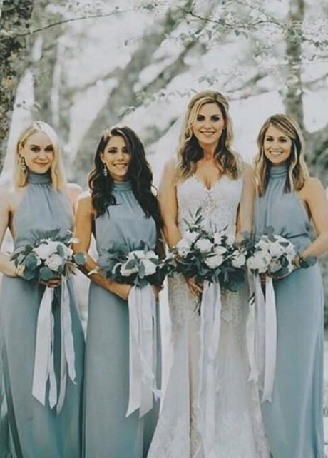 Dusty Blue Chiffon Bridesmaid Dresses with Halter Neckline