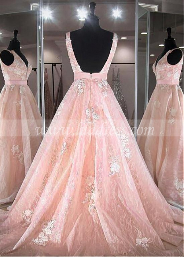 Elegant Tulle V-neck Neckline Floor-length A-line Prom Dresses With Lace Appliques & Belt