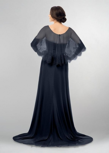 Dark Navy Mothers Wedding Party Dresses with Lace Cape
