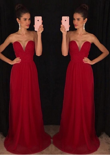 Exquisite Lace & Chiffon Sweetheart Neckline Floor-length A-line Evening Dress