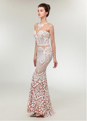Fashion Sequin Lace Jewel Neckline Mermaid Prom Dress