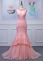 Alluring Tulle Jewel Neckline Mermaid Evening Dresses With Lace Appliques & Beadings