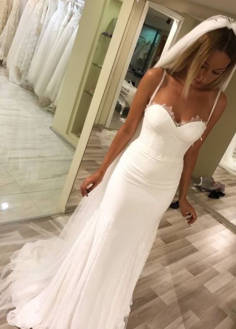 Double Straps Ivory Chiffon Wedding Gown with Lace Piece Skirt