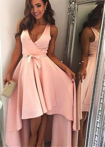 Unique Acetate Satin V-neck Neckline Hi-lo A-line Prom Dress With Sash