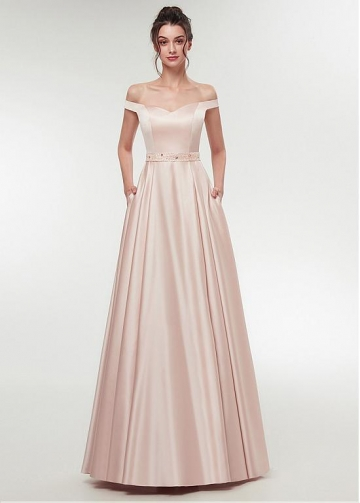 Graceful Satin Off-the-shoulder Neckline A-line Prom Dress With Beadings