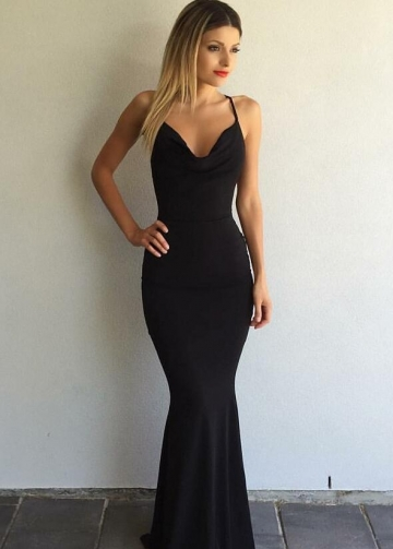 Draped V-neckline Mermaid Black Simple Prom Gown with X-back