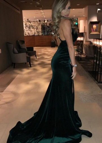 Dark Green Velvet Formal Night Wear Gown Maxi Slit Side