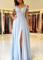 Draped Off-the-shoulder Lace Prom Dresses with Chiffon Skirt