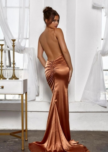 Deep V Neck Prom Gown with Sexy Low Back