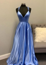 Deep Neckline Satin Prom Gowns with Beaded X Back