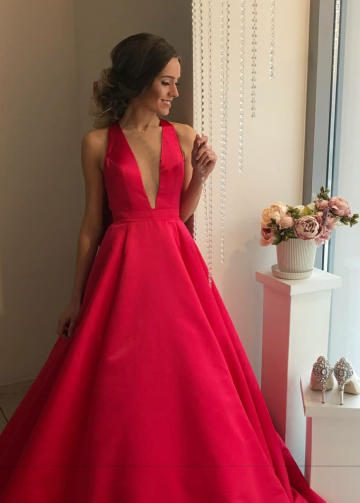 Deep V Neck Red Prom Dresses Satin Skirt vestido de formatura