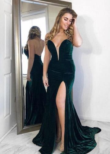 Dark Green Velvet Prom Gown Plunging V Neckline vestido de formatura