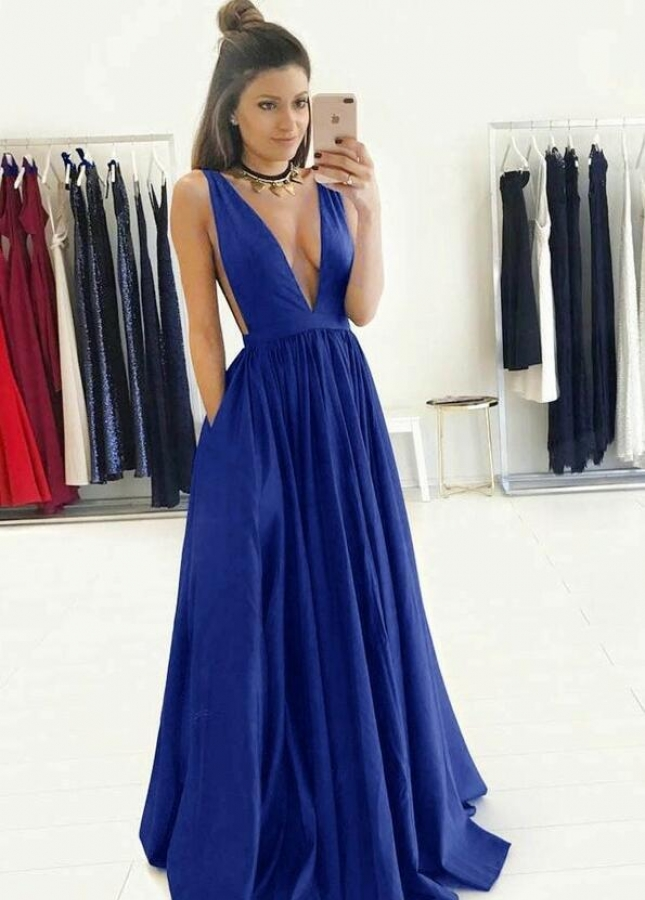 Deep V-neck A-line Royal Blue Long Prom Gowns