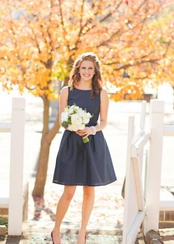 Dark Navy Bridesmaid Dress Short Wedding Party Gown Simple