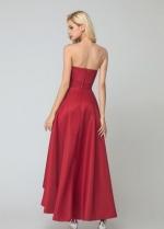 Dark Red Satin Brides Maid Dresses with Asymmetrical Hem