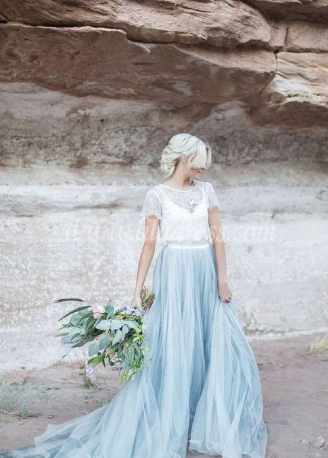Dusty Blue Tulle Wedding Dress with Removable Lace Top