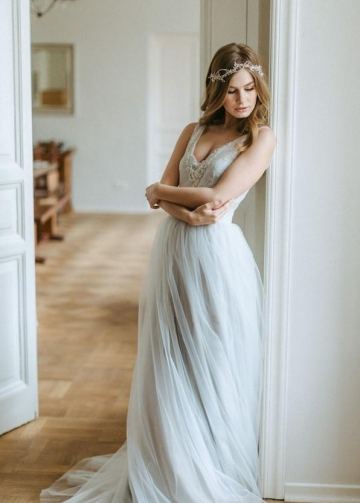 Dusty Tulle Boho Wedding Dress with Beaded Scalloped Lace V neckline