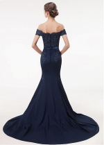 Gorgeous Satin Off-the-shoulder Neckline Mermaid Evening Dress With Lace Appliques