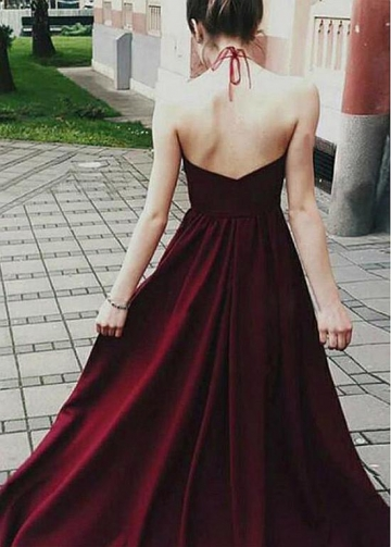Fashionable Tulle & Satin Halter Neckline Floor-length A-line Evening Dresses With Lace Appliques