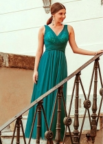 Brilliant Tulle & Sequin Lace V-neck Neckline A-line Evening Dresses