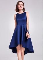Modest Satin Scoop Neckline Hi-lo Length A-line Bridesmaid Dress