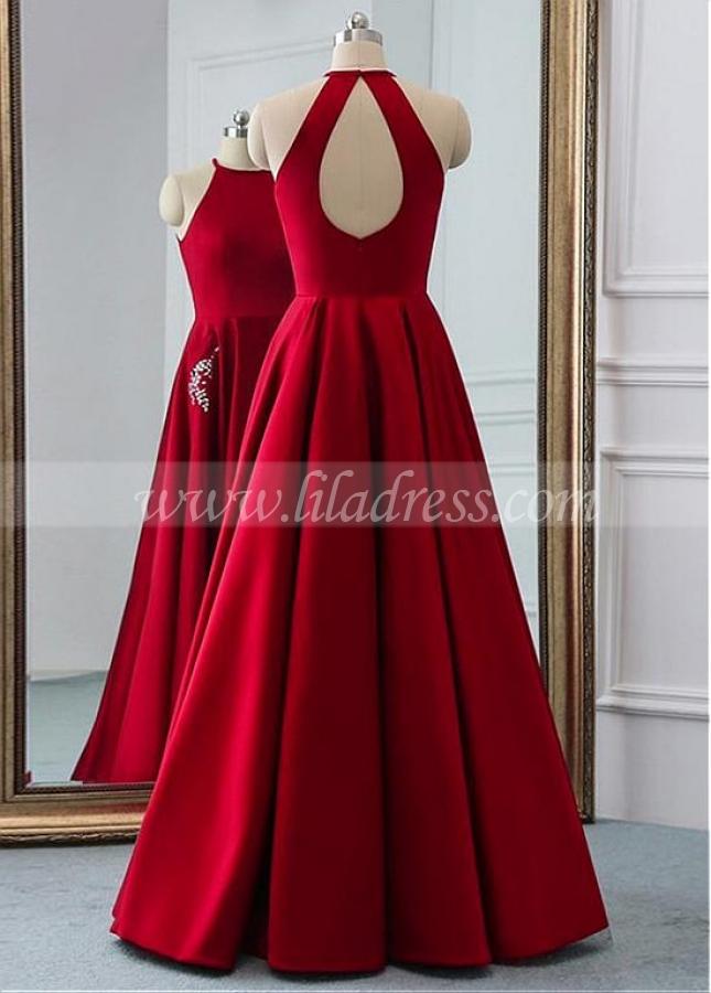 Brilliant Satin Jewel Neckline Floor-length A-line Prom Dresses With Beadings & Pockets