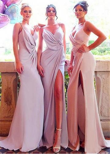 Eye-catching Spaghetti Straps Neckline Floor-length Sheath/Column Bridesmaid Dresses With Slit