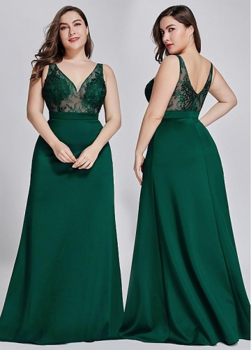 Diaphanous Lace V-neck Neckline A-line Bridesmaid Dresses