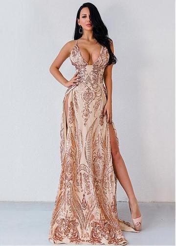 Unique Sequin Spaghetti Straps Neckline A-line Prom Dresses