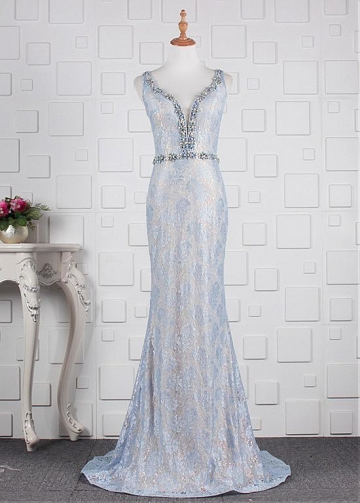 Marvelous Lace V-neck Neckline Mermaid Evening Dresses With Beadings