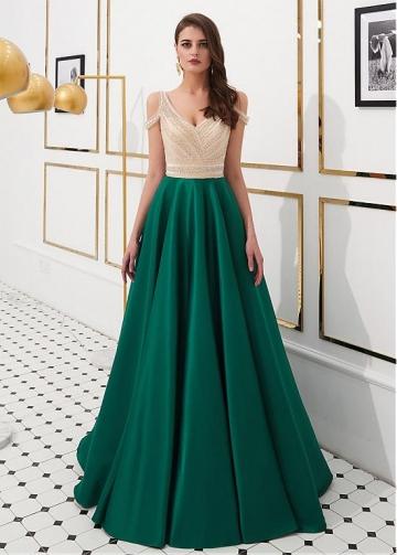 Sexy Satin V-neck Neckline Floor-length A-line Prom Dresses With Beadings