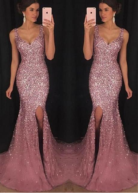 Showy Tulle V-neck Neckline Floor-length Mermaid Evening Dresses With Beadings