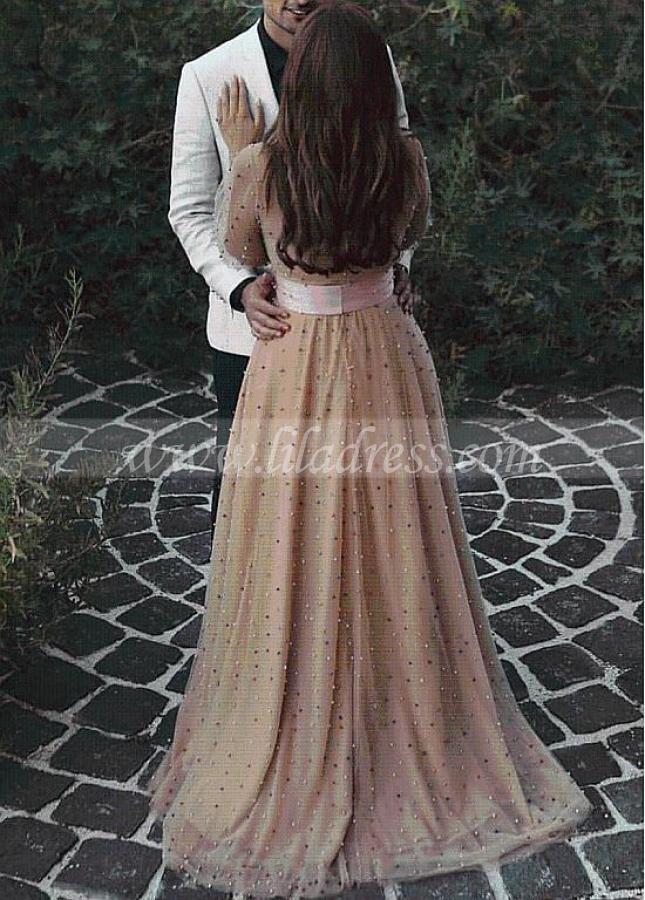 Delicate Tulle V-neck Neckline Floor-length A-line Evening Dresses Belt & Beadings