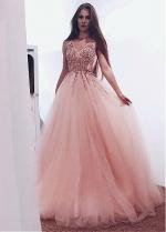Champagne Tulle V-neck Neckline Floor-length A-line Evening / Prom Dress